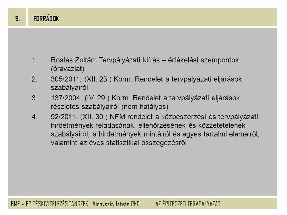 BME – ÉPÍTÉSKIVITELEZÉS TANSZÉK - Vidovszky István PhD 9. AZ ÉPÍTÉSZETI TERVPÁLYÁZAT Tervpályázati kiírás – értékelési szempontok (óravázlat) 1.Rostás
