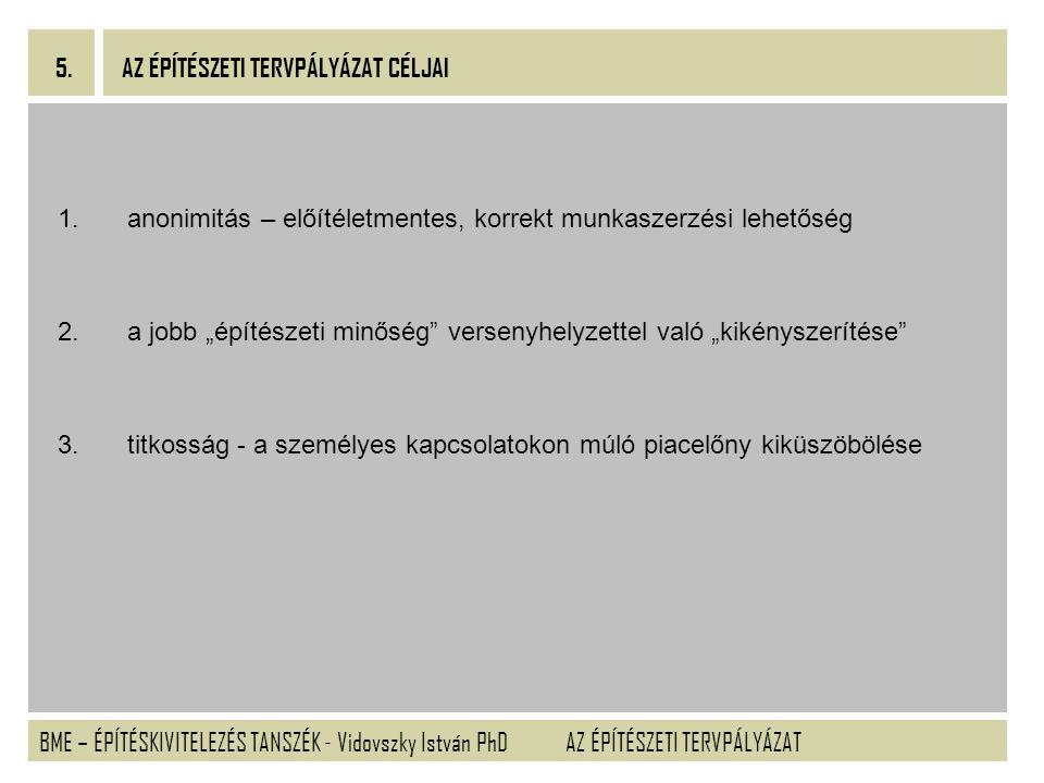 BME – ÉPÍTÉSKIVITELEZÉS TANSZÉK - Vidovszky István PhD 5. AZ ÉPÍTÉSZETI TERVPÁLYÁZAT 1.anonimitás – előítéletmentes, korrekt munkaszerzési lehetőség 2