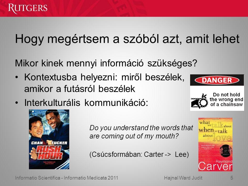 Informatio Scientifica - Informatio Medicata 2011Hajnal Ward Judit Hogy megértsem a szóból azt, amit lehet Mikor kinek mennyi információ szükséges.