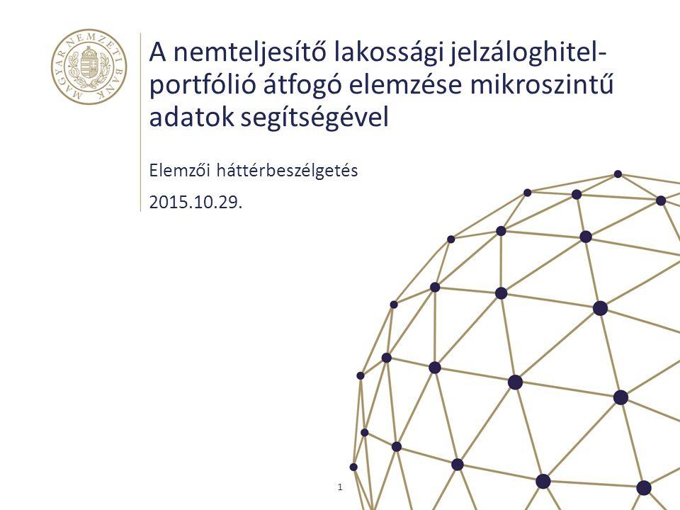 A nemteljesítő lakossági jelzáloghitel- portfólió átfogó elemzése mikroszintű adatok segítségével Elemzői háttérbeszélgetés 1 2015.10.29.