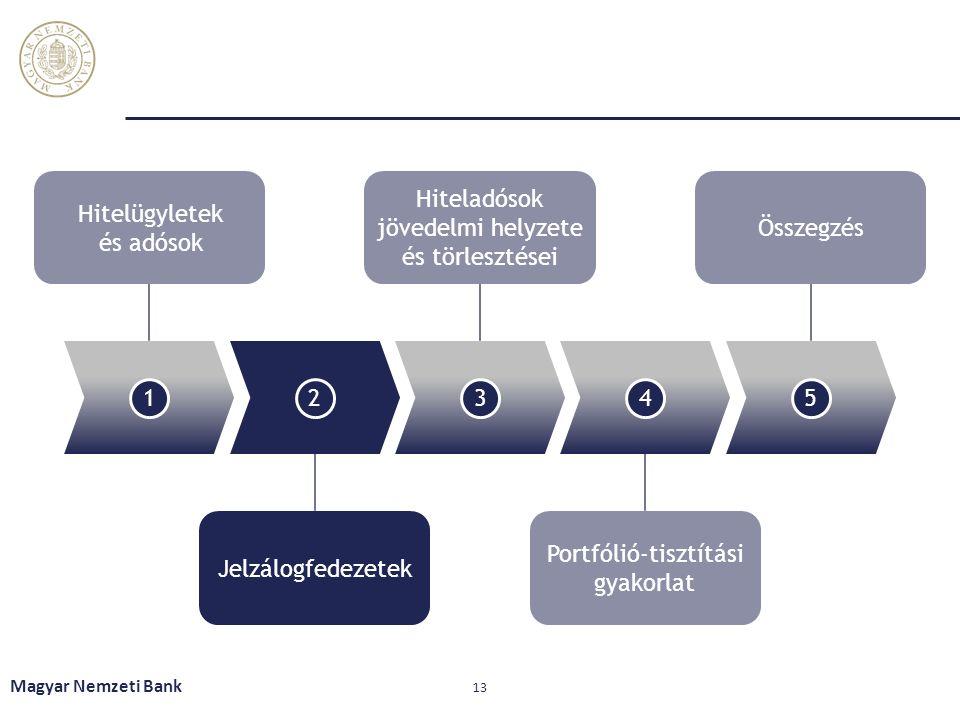 Magyar Nemzeti Bank 13 12345 Hitelügyletek és adósok Hiteladósok jövedelmi helyzete és törlesztései Összegzés Jelzálogfedezetek Portfólió-tisztítási g