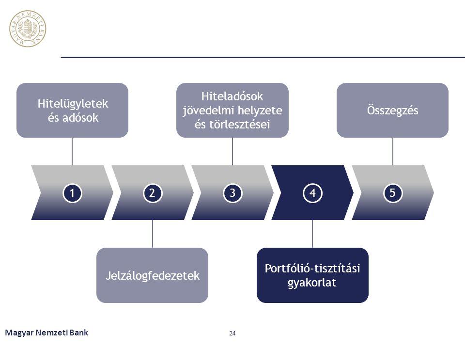 Magyar Nemzeti Bank 24 12345 Hitelügyletek és adósok Hiteladósok jövedelmi helyzete és törlesztései Összegzés Jelzálogfedezetek Portfólió-tisztítási gyakorlat