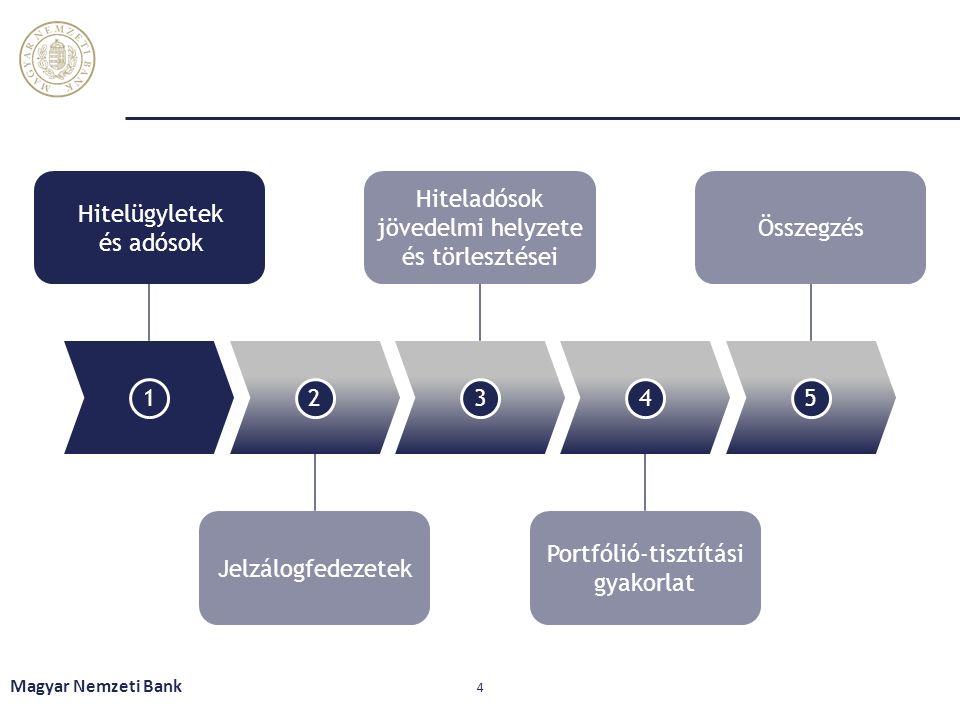 Magyar Nemzeti Bank 4 12345 Hitelügyletek és adósok Hiteladósok jövedelmi helyzete és törlesztései Összegzés Jelzálogfedezetek Portfólió-tisztítási gy