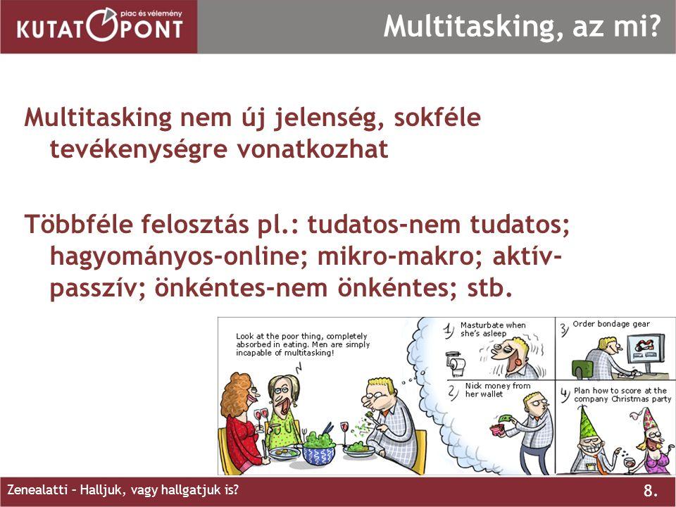 8. Zenealatti – Halljuk, vagy hallgatjuk is? Multitasking, az mi? Multitasking nem új jelenség, sokféle tevékenységre vonatkozhat Többféle felosztás p