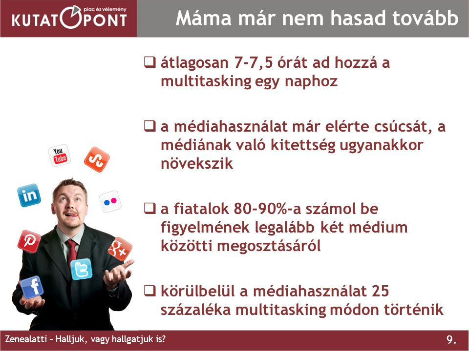 9. Zenealatti – Halljuk, vagy hallgatjuk is? Máma már nem hasad tovább  átlagosan 7-7,5 órát ad hozzá a multitasking egy naphoz  a médiahasználat má