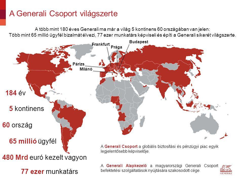 A Generali Csoport világszerte A több mint 180 éves Generali ma már a világ 5 kontinens 60 országában van jelen: Több mint 65 millió ügyfél bizalmát élvezi, 77 ezer munkatárs képviseli és építi a Generali sikerét világszerte.