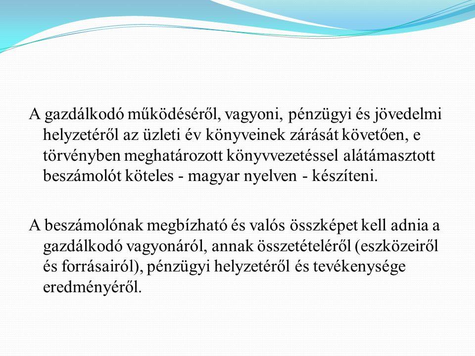 A gazdálkodó működéséről, vagyoni, pénzügyi és jövedelmi helyzetéről az üzleti év könyveinek zárását követően, e törvényben meghatározott könyvvezetéssel alátámasztott beszámolót köteles - magyar nyelven - készíteni.
