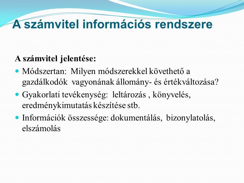 A számvitel információs rendszere A számvitel jelentése: Módszertan: Milyen módszerekkel követhető a gazdálkodók vagyonának állomány- és értékváltozása.