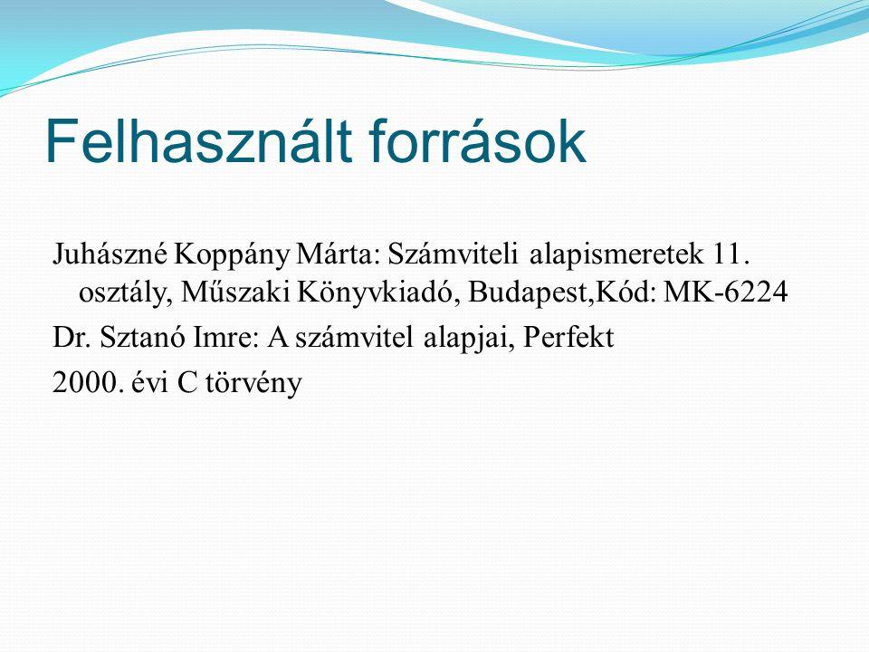 Felhasznált források Juhászné Koppány Márta: Számviteli alapismeretek 11.