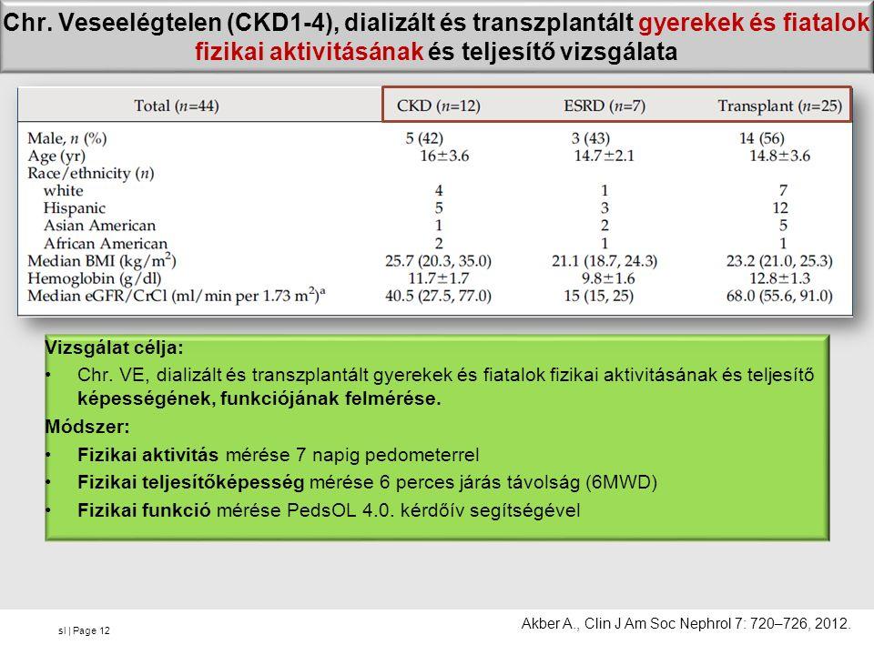 sl | Page Chr. Veseelégtelen (CKD1-4), dializált és transzplantált gyerekek és fiatalok fizikai aktivitásának és teljesítő vizsgálata Vizsgálat célja:
