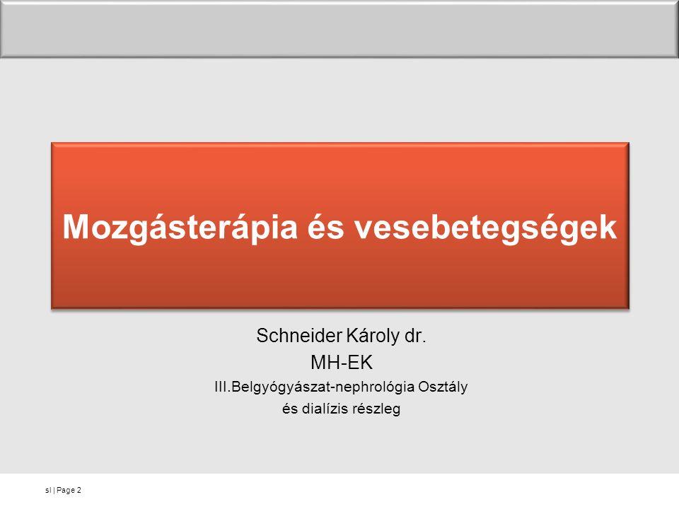 sl | Page Mozgásterápia és vesebetegségek Schneider Károly dr. MH-EK III.Belgyógyászat-nephrológia Osztály és dialízis részleg 2