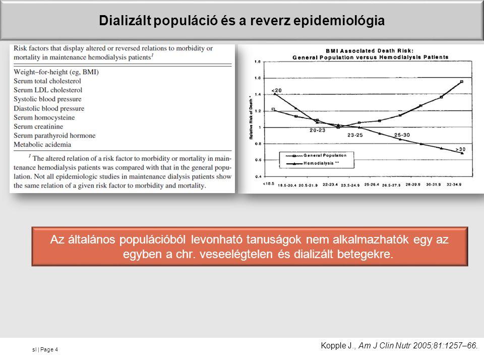 sl | Page Dializált populáció és a reverz epidemiológia Az általános populációból levonható tanuságok nem alkalmazhatók egy az egyben a chr. veseelégt