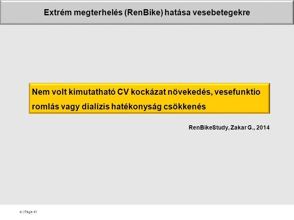 sl | Page RenBikeStudy, Zakar G., 2014 41 Extrém megterhelés (RenBike) hatása vesebetegekre Nem volt kimutatható CV kockázat növekedés, vesefunktio romlás vagy dialízis hatékonyság csökkenés