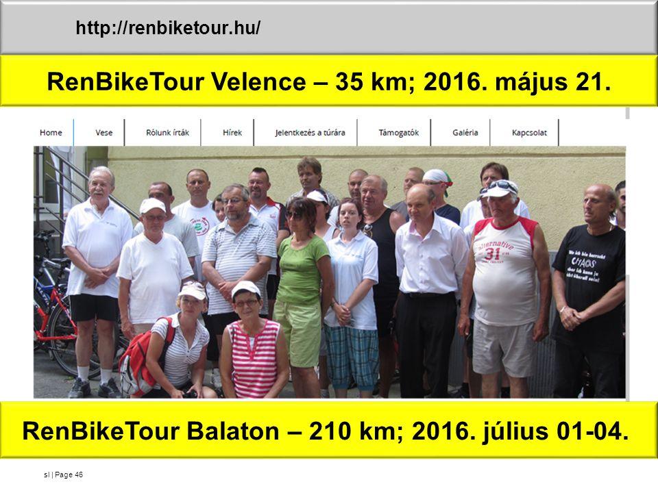 sl | Page46 http://renbiketour.hu/ RenBikeTour Velence – 35 km; 2016. május 21. RenBikeTour Balaton – 210 km; 2016. július 01-04.