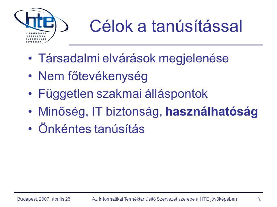 Budapest, 2007. április 25.Az Informatikai Terméktanúsító Szervezet szerepe a HTE jövőképében 3.3.
