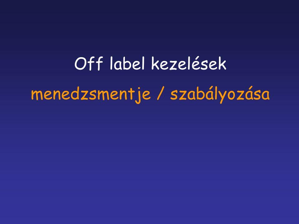 Off label kezelések menedzsmentje / szabályozása