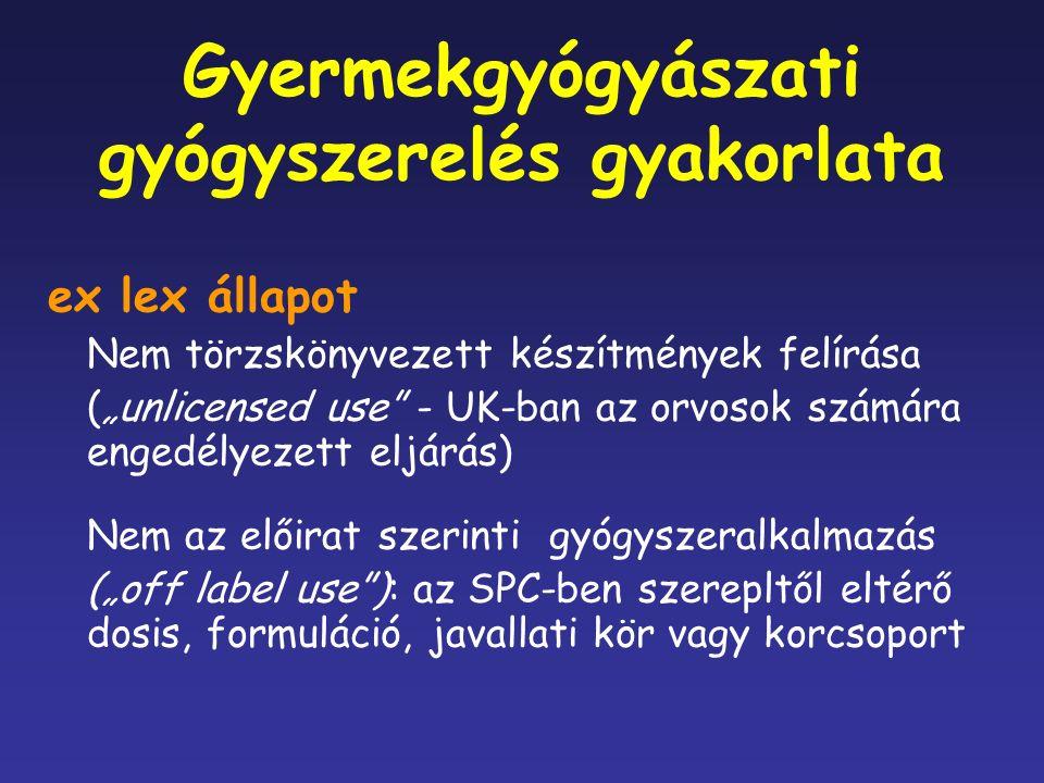 """Gyermekgyógyászati gyógyszerelés gyakorlata ex lex állapot Nem törzskönyvezett készítmények felírása (""""unlicensed use - UK-ban az orvosok számára engedélyezett eljárás) Nem az előirat szerinti gyógyszeralkalmazás (""""off label use ): az SPC-ben szerepltől eltérő dosis, formuláció, javallati kör vagy korcsoport"""