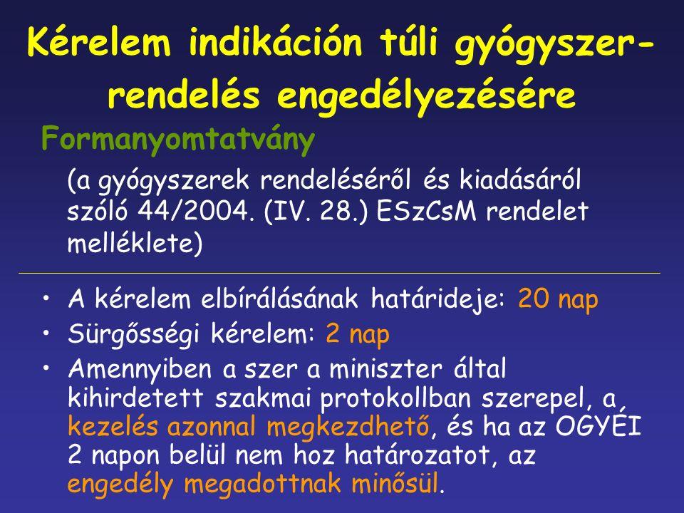 Kérelem indikáción túli gyógyszer- rendelés engedélyezésére Formanyomtatvány (a gyógyszerek rendeléséről és kiadásáról szóló 44/2004.