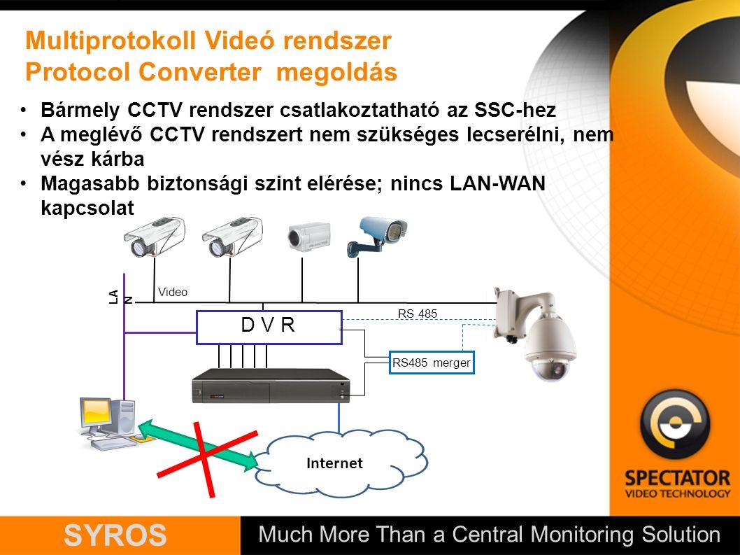 Much More Than a Central Monitoring Solution SYROS Multiprotokoll Videó rendszer Protocol Converter megoldás RS 485 Internet LA N Video D V R RS485 merger Bármely CCTV rendszer csatlakoztatható az SSC-hez A meglévő CCTV rendszert nem szükséges lecserélni, nem vész kárba Magasabb biztonsági szint elérése; nincs LAN-WAN kapcsolat