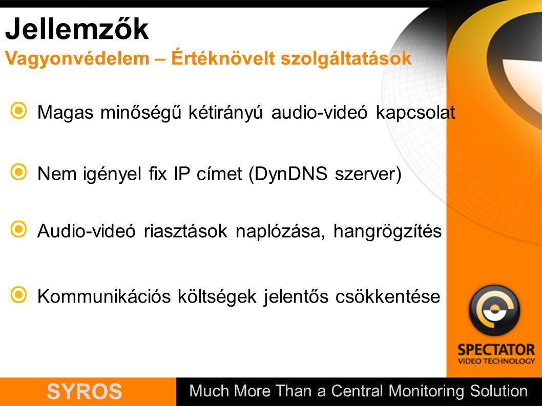 Much More Than a Central Monitoring Solution SYROS Jellemzők Vagyonvédelem – Értéknövelt szolgáltatások Magas minőségű kétirányú audio-videó kapcsolat Nem igényel fix IP címet (DynDNS szerver) Audio-videó riasztások naplózása, hangrögzítés Kommunikációs költségek jelentős csökkentése