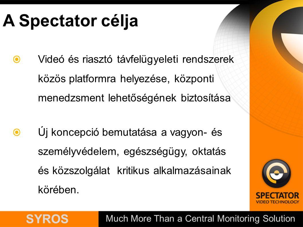 Much More Than a Central Monitoring Solution SYROS A Spectator célja Videó és riasztó távfelügyeleti rendszerek közös platformra helyezése, központi menedzsment lehetőségének biztosítása Új koncepció bemutatása a vagyon- és személyvédelem, egészségügy, oktatás és közszolgálat kritikus alkalmazásainak körében.