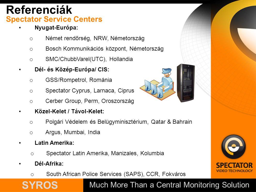 Much More Than a Central Monitoring Solution SYROS Referenciák Spectator Service Centers Nyugat-Európa: o Német rendőrség, NRW, Németország o Bosch Kommunikációs központ, Németország o SMC/ChubbVarel(UTC), Hollandia Dél- és Közép-Európa/ CIS: o GSS/Rompetrol, Románia o Spectator Cyprus, Larnaca, Ciprus o Cerber Group, Perm, Oroszország Közel-Kelet / Távol-Kelet: o Polgári Védelem és Belügyminisztérium, Qatar & Bahrain o Argus, Mumbai, India Latin Amerika: o Spectator Latin Amerika, Manizales, Kolumbia Dél-Afrika: o South African Police Services (SAPS), CCR, Fokváros