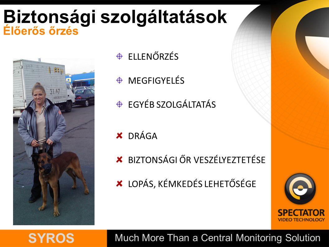 Much More Than a Central Monitoring Solution SYROS ELLENŐRZÉS MEGFIGYELÉS EGYÉB SZOLGÁLTATÁS Biztonsági szolgáltatások Élőerős őrzés DRÁGA BIZTONSÁGI