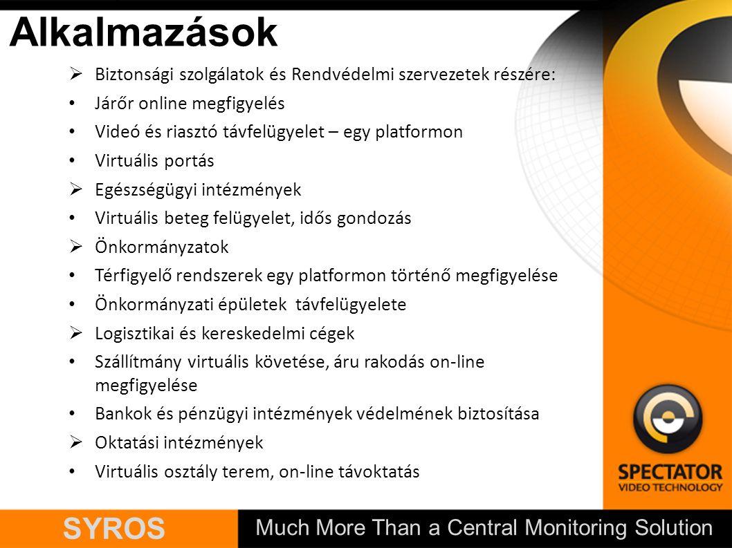 Much More Than a Central Monitoring Solution SYROS  Biztonsági szolgálatok és Rendvédelmi szervezetek részére: Járőr online megfigyelés Videó és rias
