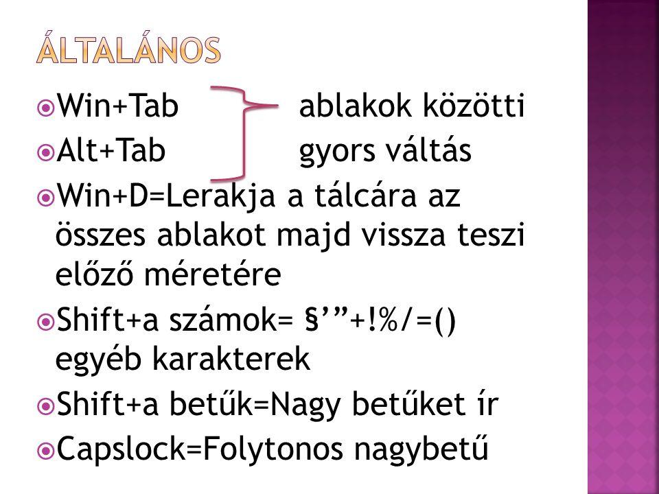  Win+Tabablakok közötti  Alt+Tabgyors váltás  Win+D=Lerakja a tálcára az összes ablakot majd vissza teszi előző méretére  Shift+a számok= §' +!%/=() egyéb karakterek  Shift+a betűk=Nagy betűket ír  Capslock=Folytonos nagybetű