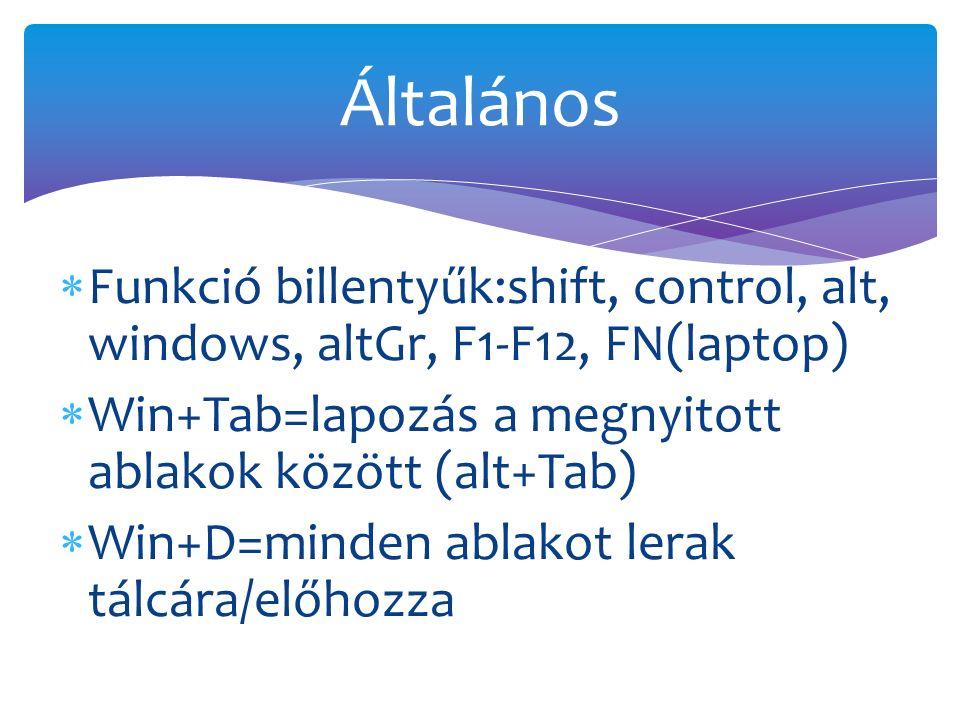  Funkció billentyűk:shift, control, alt, windows, altGr, F1-F12, FN(laptop)  Win+Tab=lapozás a megnyitott ablakok között (alt+Tab)  Win+D=minden ablakot lerak tálcára/előhozza Általános