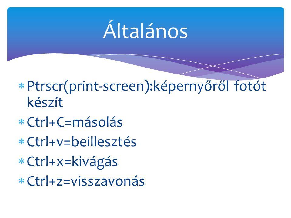  Ptrscr(print-screen):képernyőről fotót készít  Ctrl+C=másolás  Ctrl+v=beillesztés  Ctrl+x=kivágás  Ctrl+z=visszavonás Általános