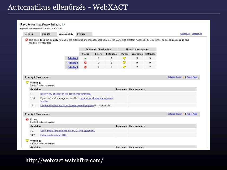 Automatikus ellenőrzés - WebXACT http://webxact.watchfire.com/