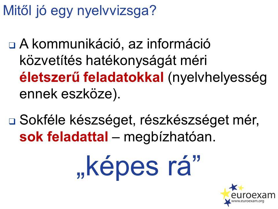  A kommunikáció, az információ közvetítés hatékonyságát méri életszerű feladatokkal (nyelvhelyesség ennek eszköze).