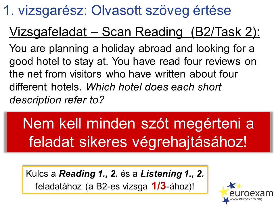 1. vizsgarész: Olvasott szöveg értése Vizsgafeladat – Scan Reading (B2/Task 2): You are planning a holiday abroad and looking for a good hotel to stay