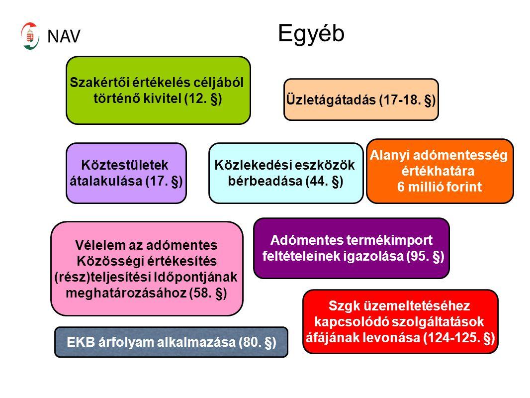 Egyéb Köztestületek átalakulása (17. §) Szakértői értékelés céljából történő kivitel (12.