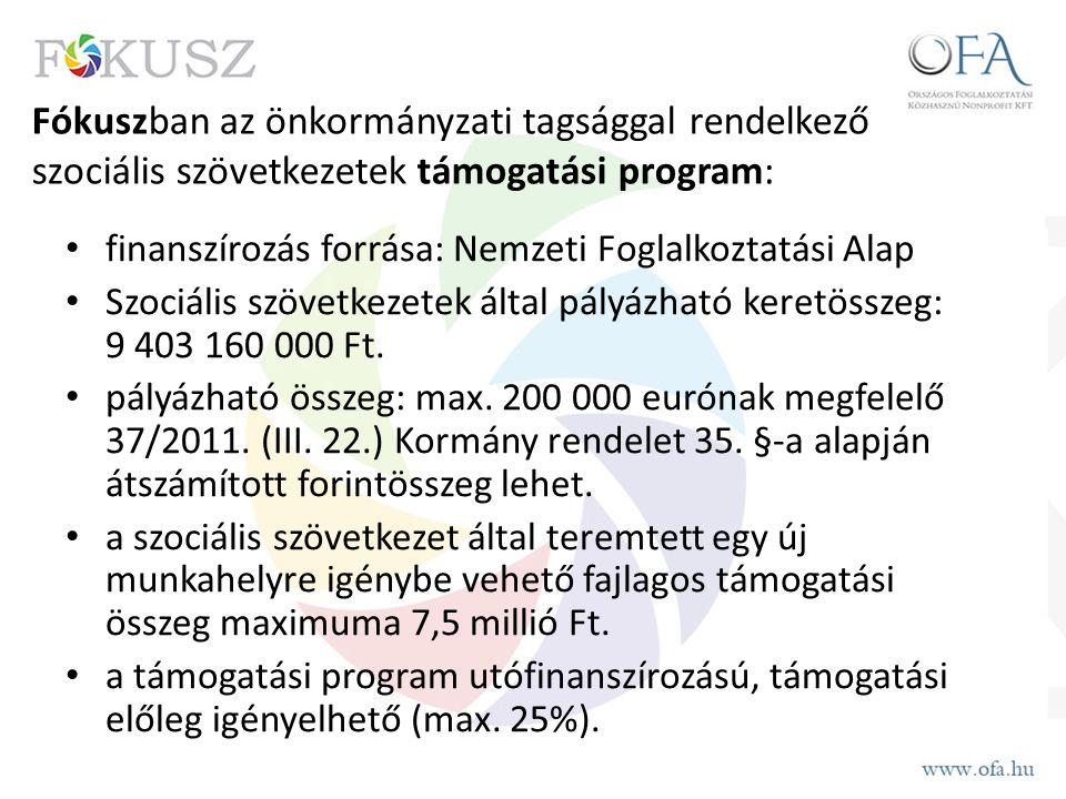 Fókuszban az önkormányzati tagsággal rendelkező szociális szövetkezetek támogatási program: finanszírozás forrása: Nemzeti Foglalkoztatási Alap Szociális szövetkezetek által pályázható keretösszeg: 9 403 160 000 Ft.