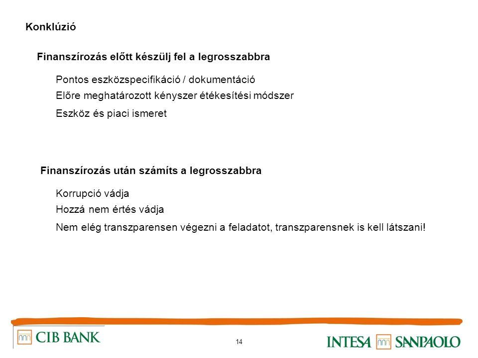 14 Konklúzió Finanszírozás előtt készülj fel a legrosszabbra Pontos eszközspecifikáció / dokumentáció Előre meghatározott kényszer étékesítési módszer Eszköz és piaci ismeret Finanszírozás után számíts a legrosszabbra Korrupció vádja Hozzá nem értés vádja Nem elég transzparensen végezni a feladatot, transzparensnek is kell látszani!