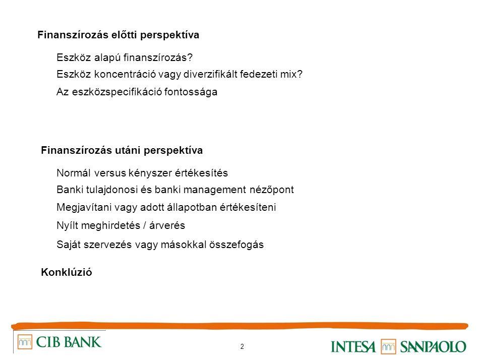 2 Finanszírozás előtti perspektíva Eszköz alapú finanszírozás? Eszköz koncentráció vagy diverzifikált fedezeti mix? Az eszközspecifikáció fontossága F