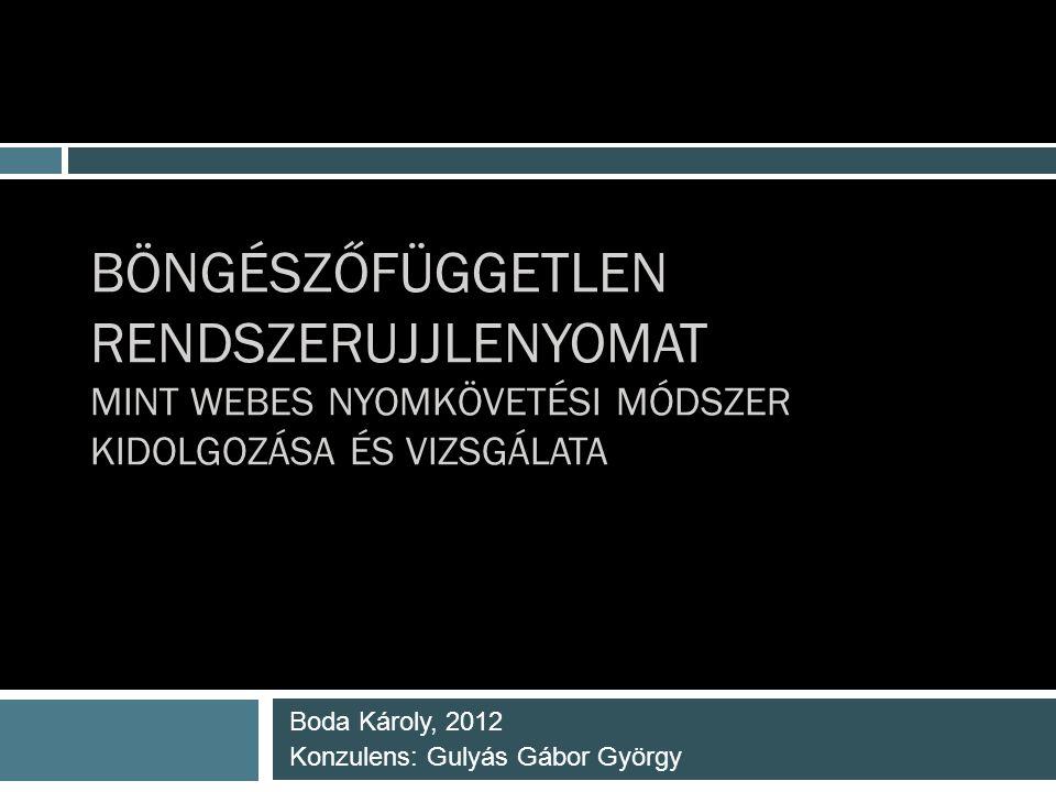 BÖNGÉSZŐFÜGGETLEN RENDSZERUJJLENYOMAT MINT WEBES NYOMKÖVETÉSI MÓDSZER KIDOLGOZÁSA ÉS VIZSGÁLATA Boda Károly, 2012 Konzulens: Gulyás Gábor György
