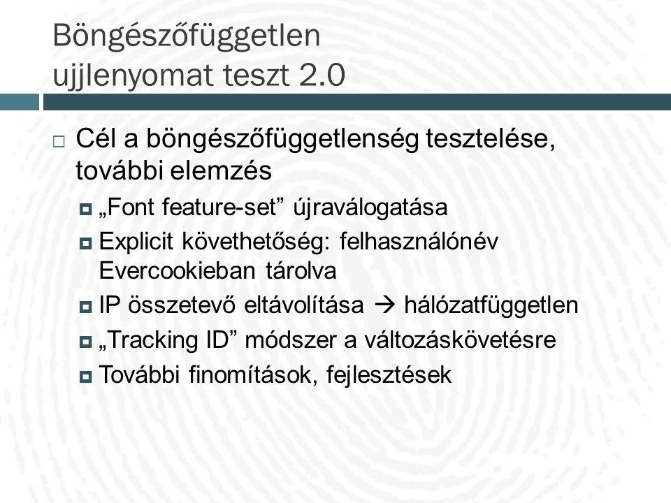 """Böngészőfüggetlen ujjlenyomat teszt 2.0  Cél a böngészőfüggetlenség tesztelése, további elemzés  """"Font feature-set"""" újraválogatása  Explicit követh"""