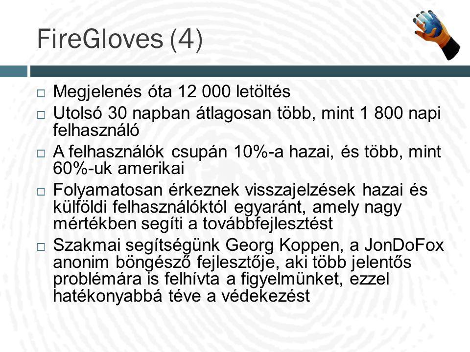 FireGloves (4)  Megjelenés óta 12 000 letöltés  Utolsó 30 napban átlagosan több, mint 1 800 napi felhasználó  A felhasználók csupán 10%-a hazai, és