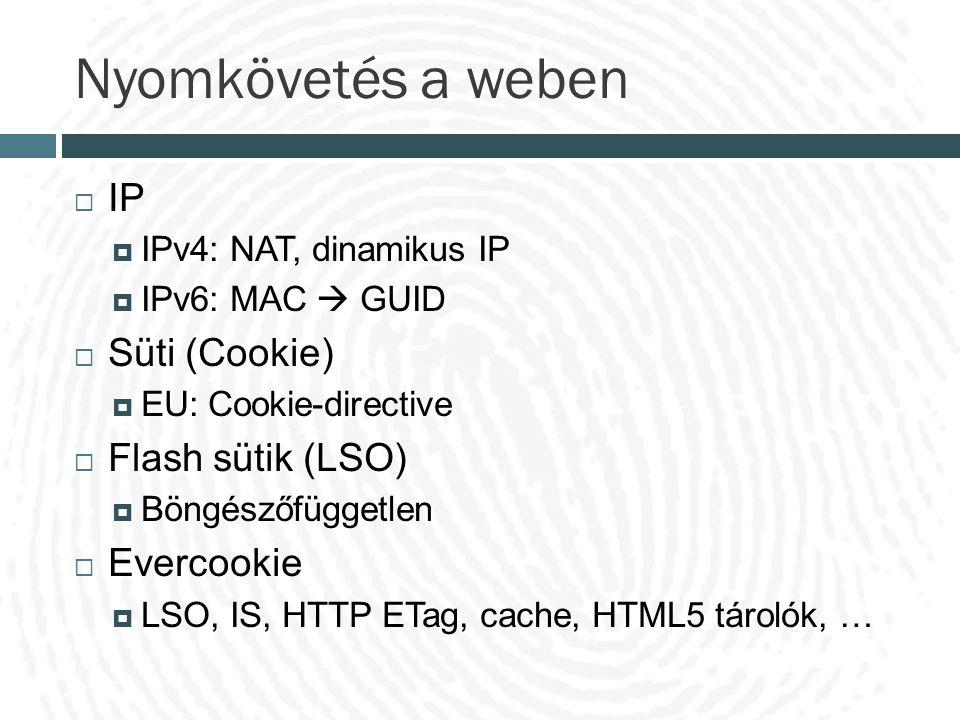 Nyomkövetés a weben (2)  URL-referer  Kereső kifejezések  HTTPS  History stealing  Az előzmény lista nem érhető el explicit módon  Lista alapú próba a linkek látogatottságának meghatározására  Érdeklődési kör is feltérképezhető általa  A vezető böngészőgyártók befoltozták a hibát  Új, hatékony módszer kell, amely nem igényel kliens oldali tárolást