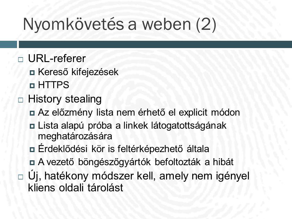 Nyomkövetés a weben (2)  URL-referer  Kereső kifejezések  HTTPS  History stealing  Az előzmény lista nem érhető el explicit módon  Lista alapú p