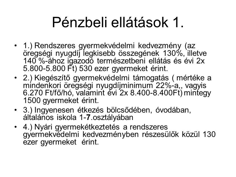 Pénzbeli ellátások 2.