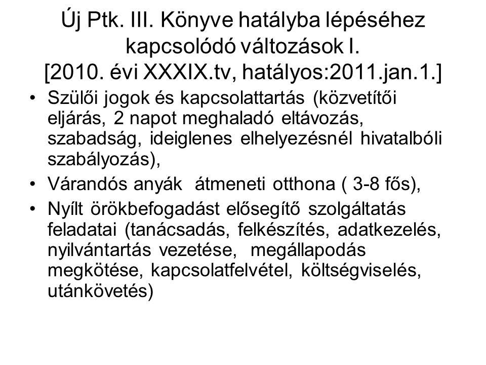 Új Ptk. III. Könyve hatályba lépéséhez kapcsolódó változások I.