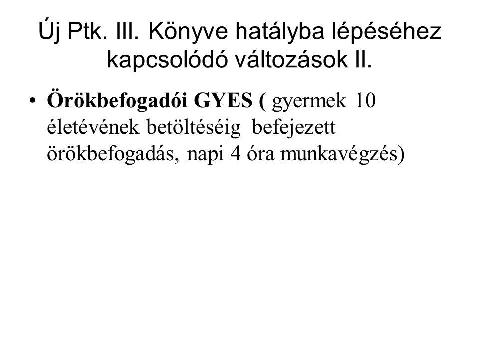 Új Ptk. III. Könyve hatályba lépéséhez kapcsolódó változások II.
