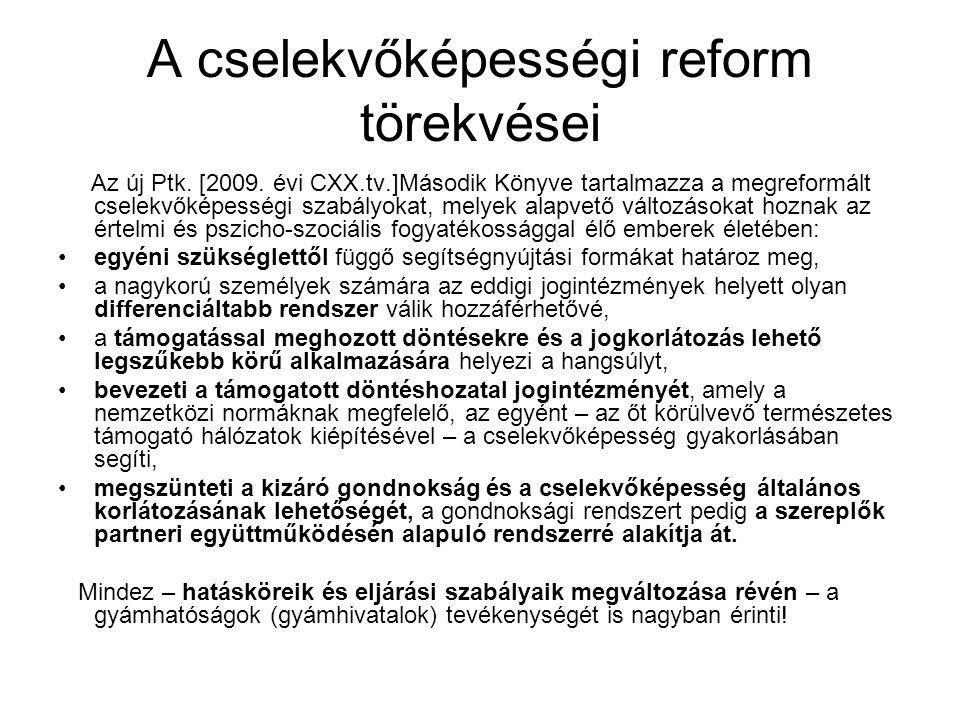 A cselekvőképességi reform törekvései Az új Ptk. [2009.