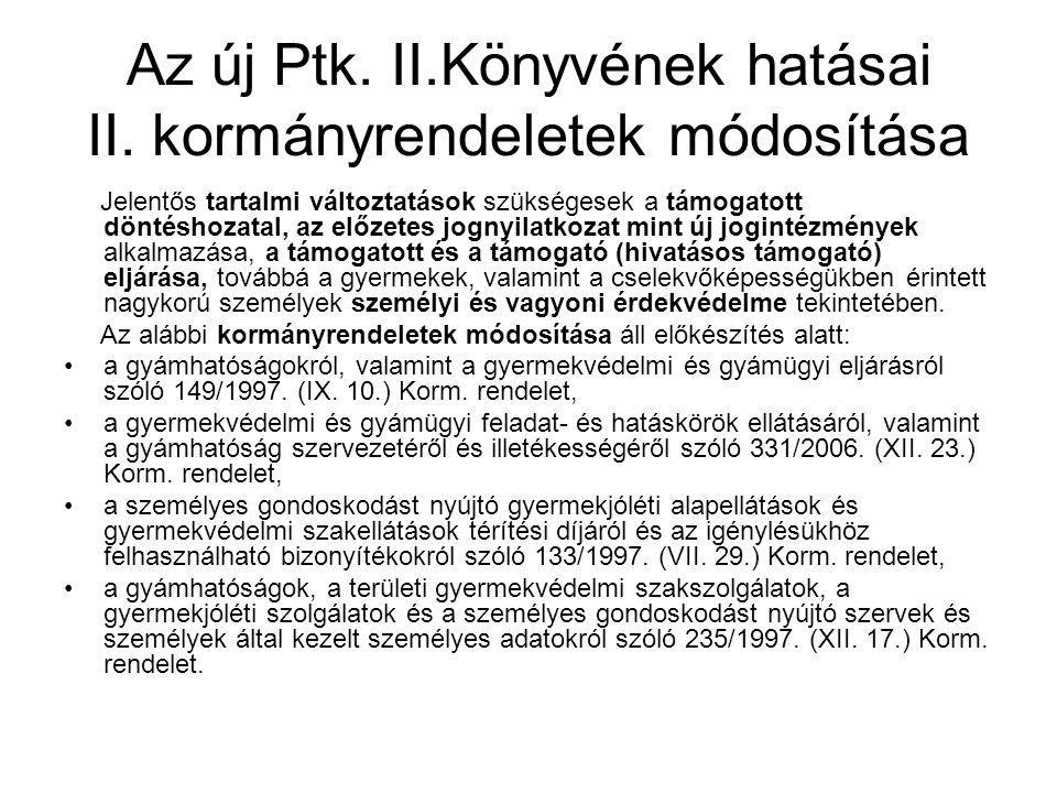 Az új Ptk. II.Könyvének hatásai II.