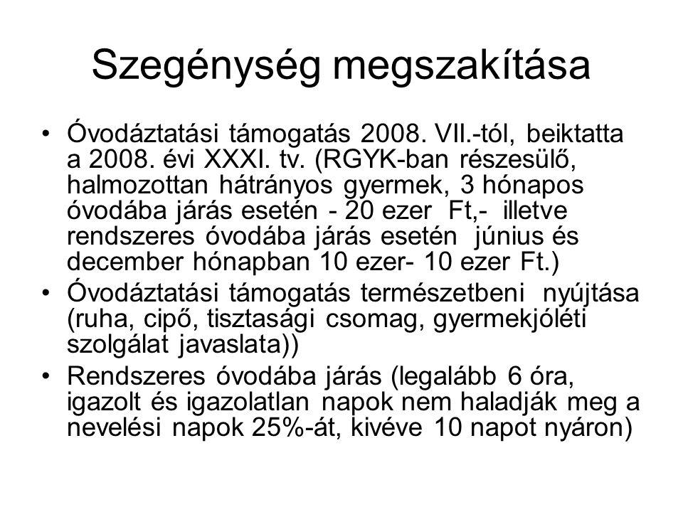 Szegénység megszakítása Óvodáztatási támogatás 2008.