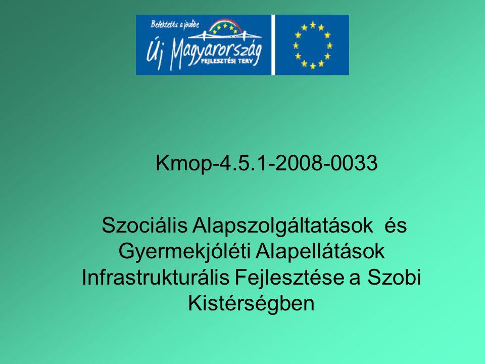 Kmop-4.5.1-2008-0033 Szociális Alapszolgáltatások és Gyermekjóléti Alapellátások Infrastrukturális Fejlesztése a Szobi Kistérségben